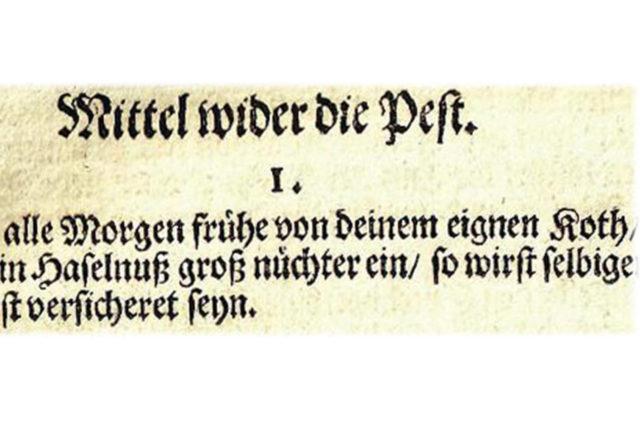 """Faksimile eines Rezeptes gegen die Pest aus der """"Heylsamen Hauß-Apotecken"""", 1714"""