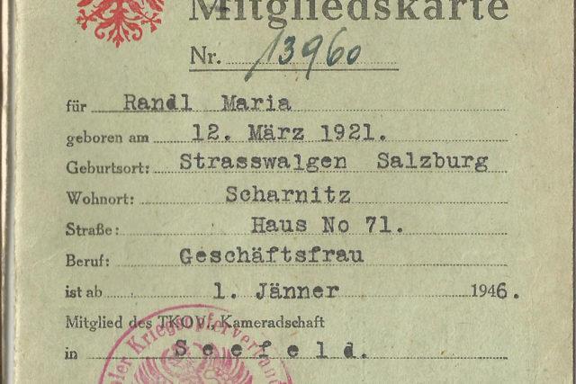 Mitgliederkarte des Tiroler Kriegsopferverbandes
