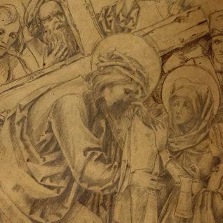 Kohleskizze der VI. Kreuzwegstation - Veronika gibt Jesus das Schweißtuch
